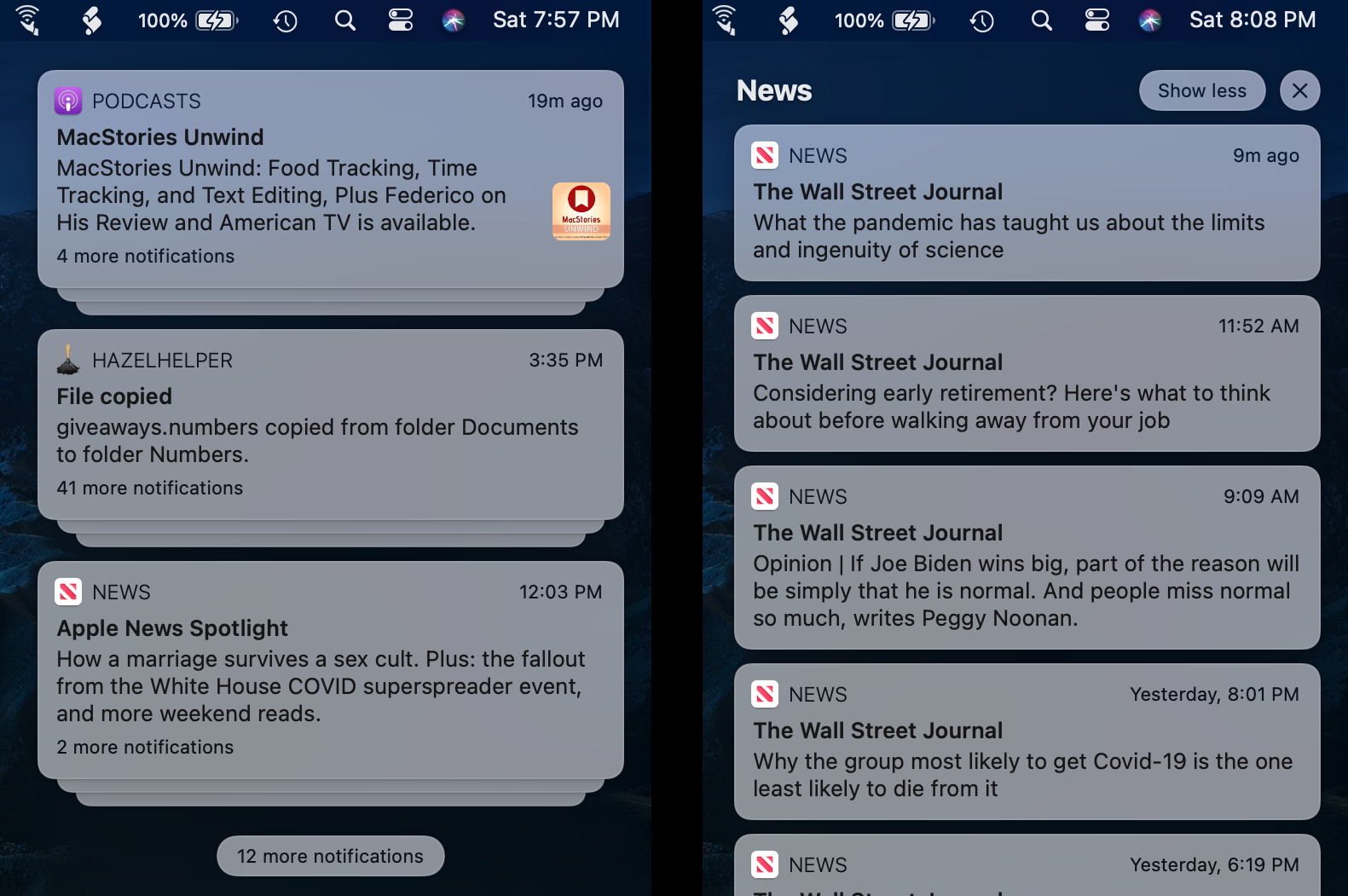 A stack of News notifications (left) that have been expanded (right).