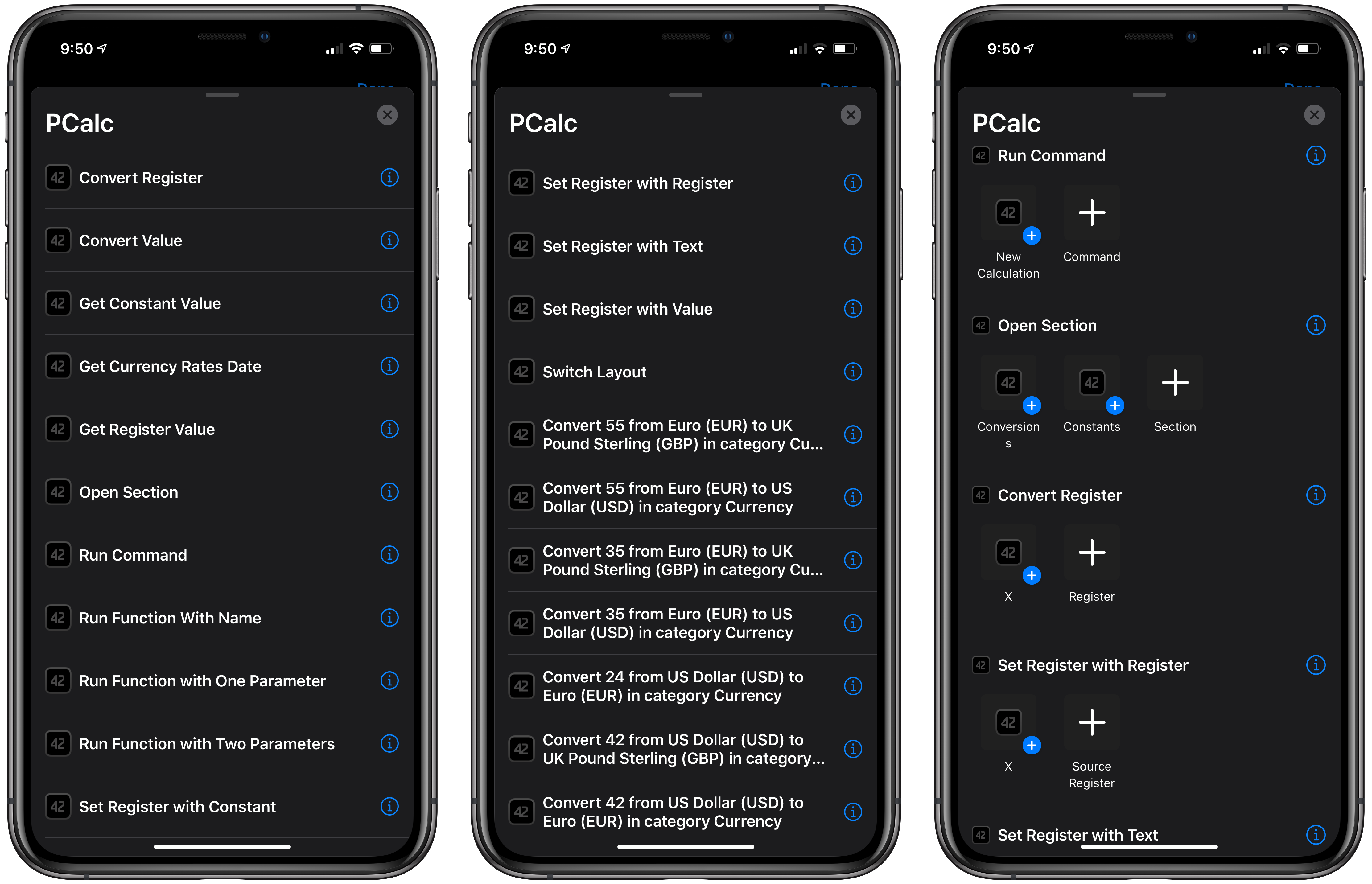 Some of the many PCalc actions built into or suggested by Shortcuts.