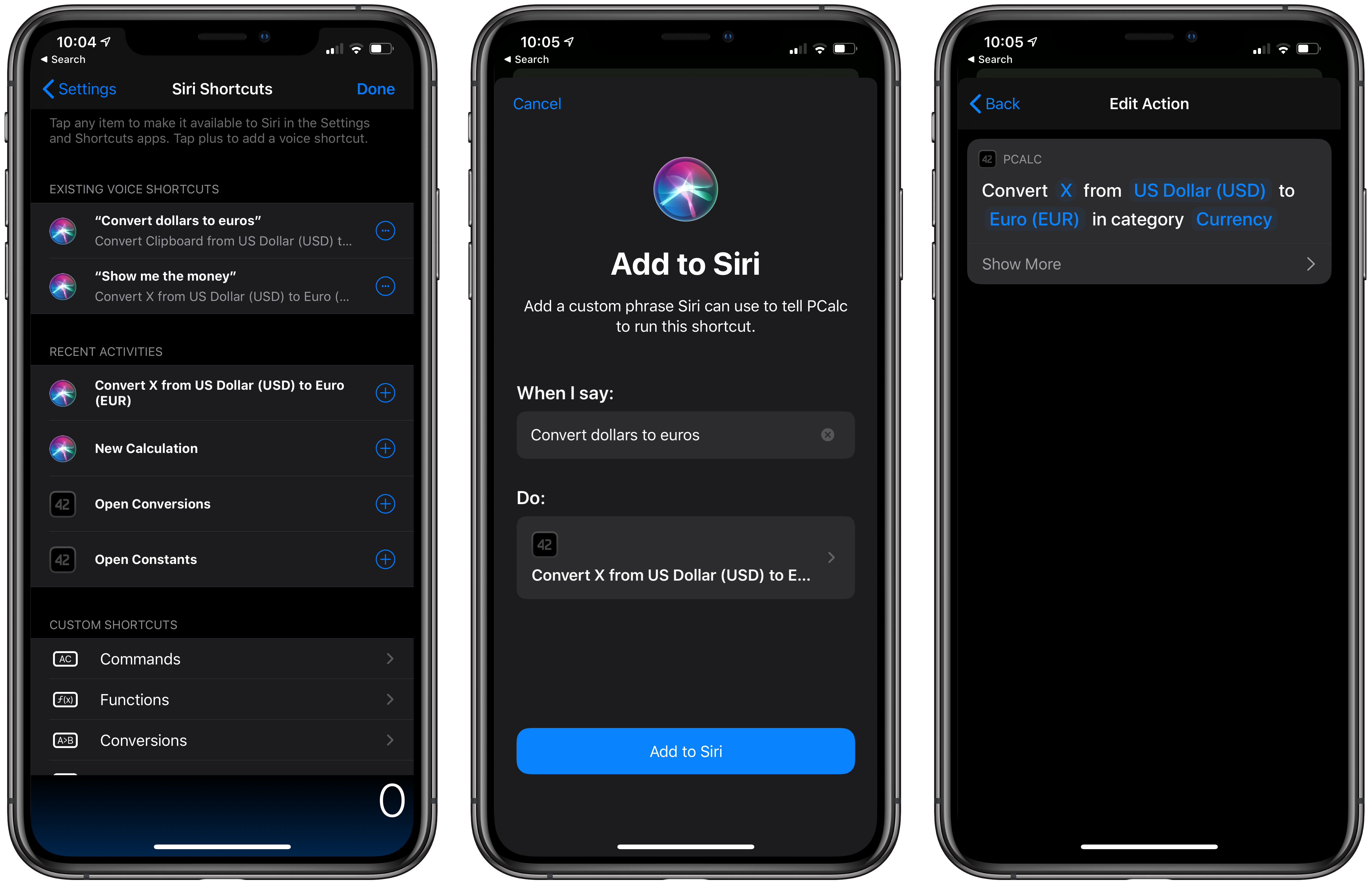 Actions and Siri shortcuts available from within PCalc.