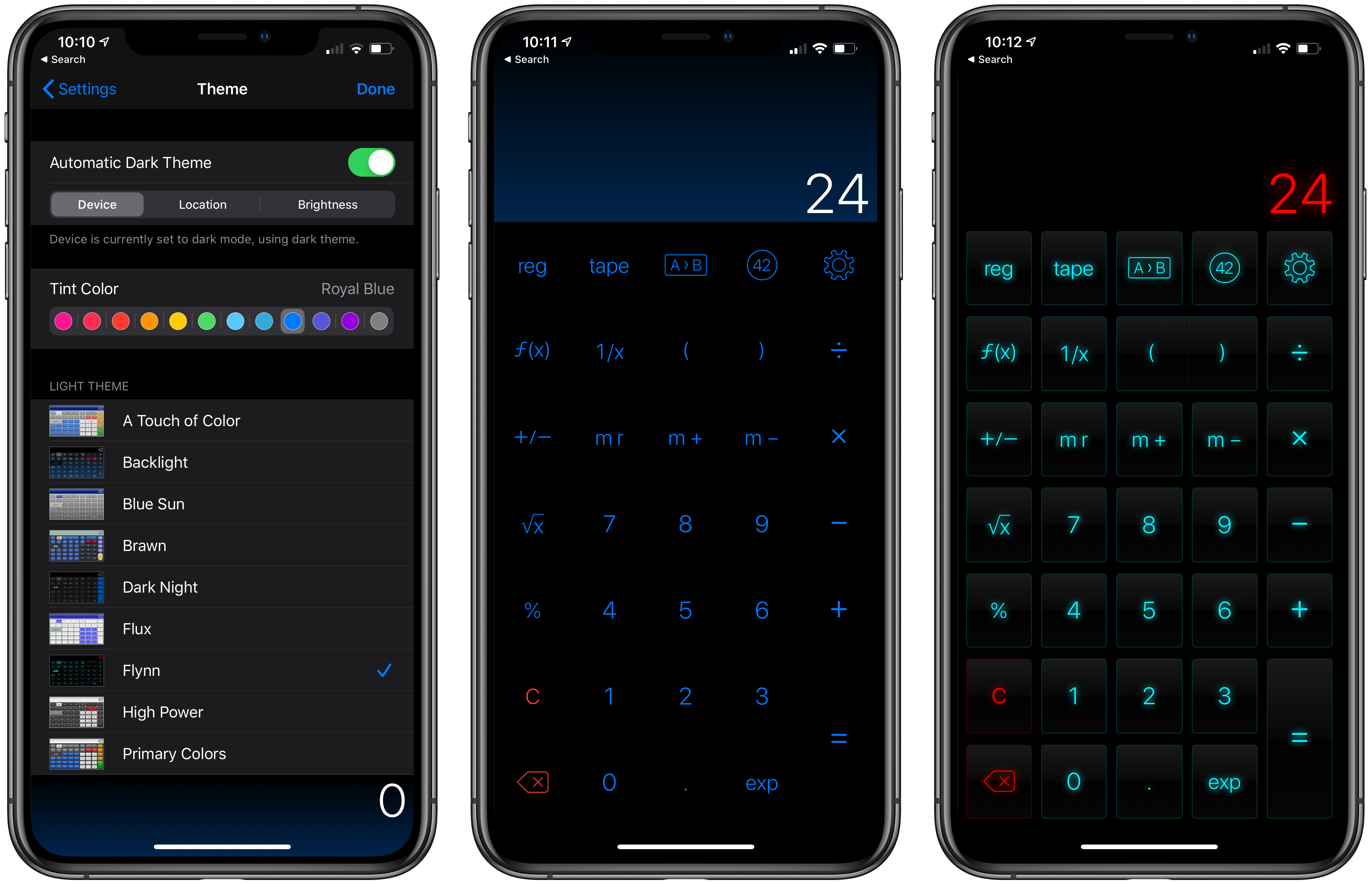 Setting up dark mode themes in PCalc.