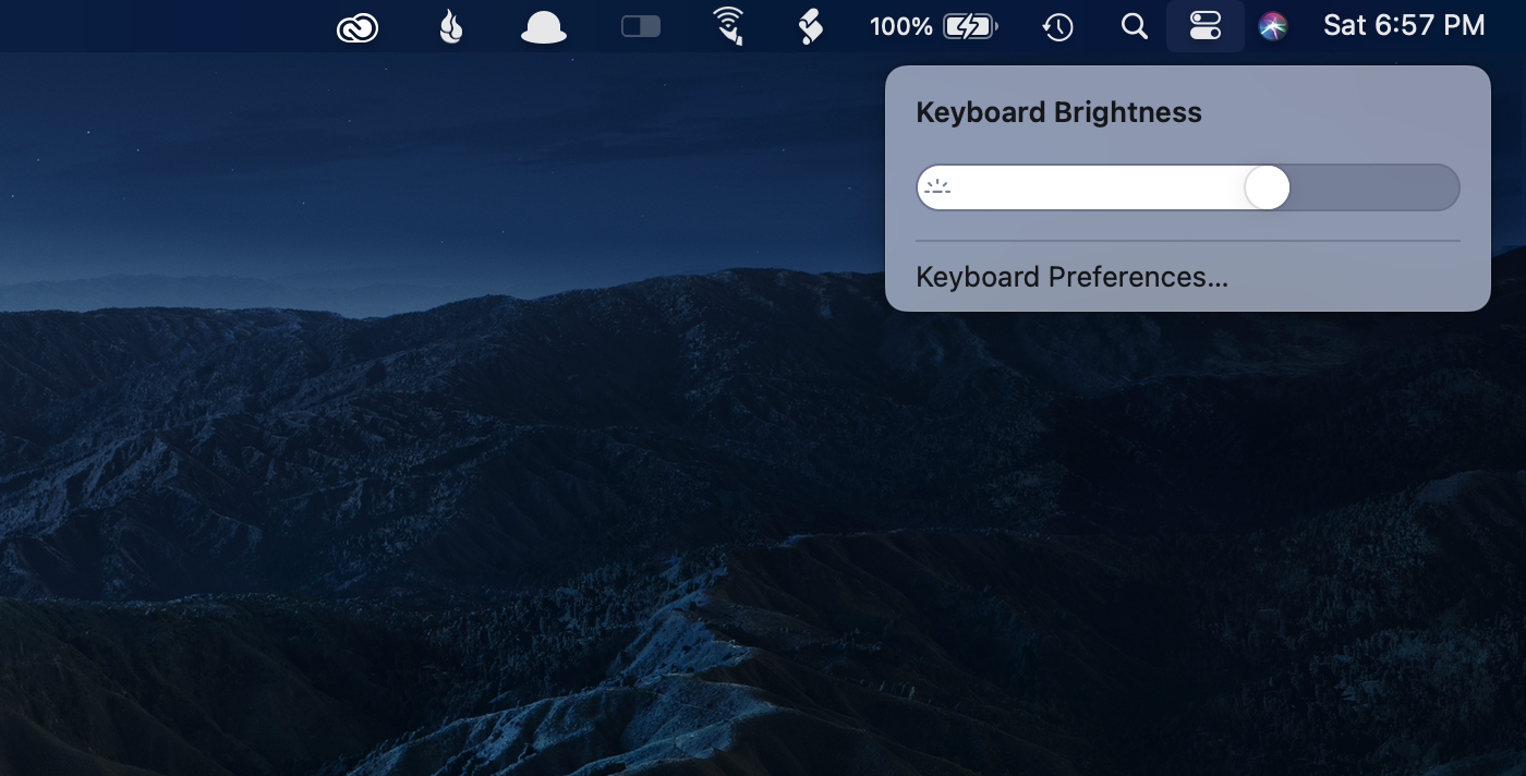 The expanded keyboard brightness control.