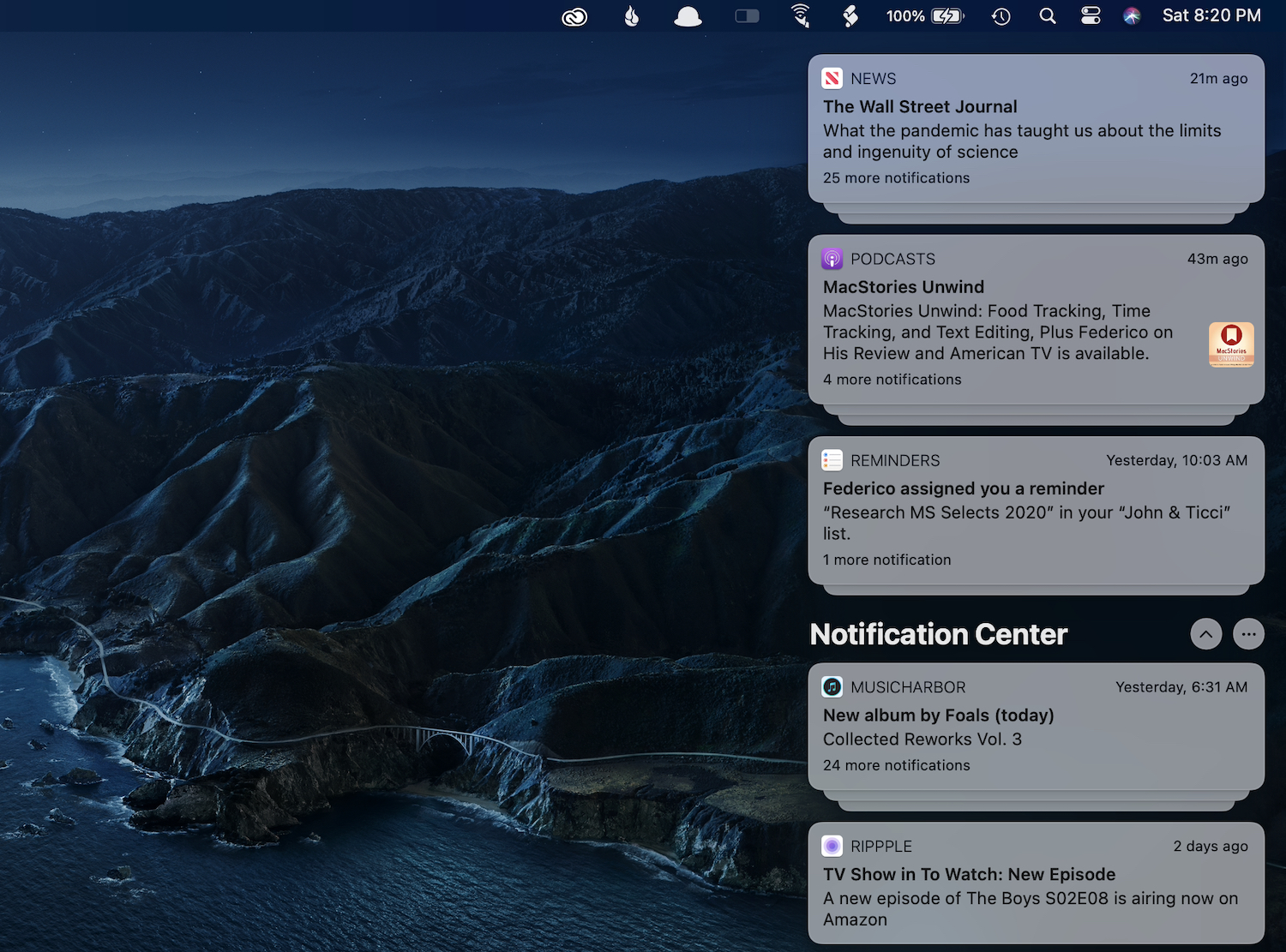 Notification Center expanded.