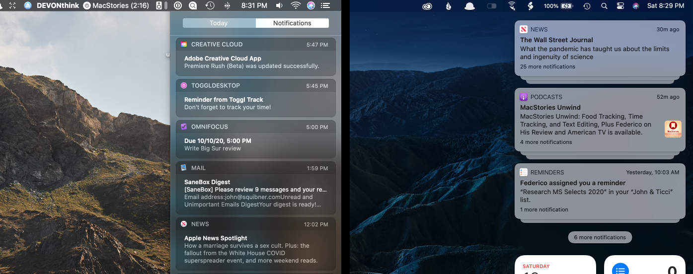 The new Notification Center (right) feels like it floats above the desktop compared to Catalina (left).