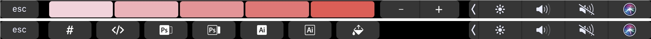Aquarelo's contextual Touch Bar support.