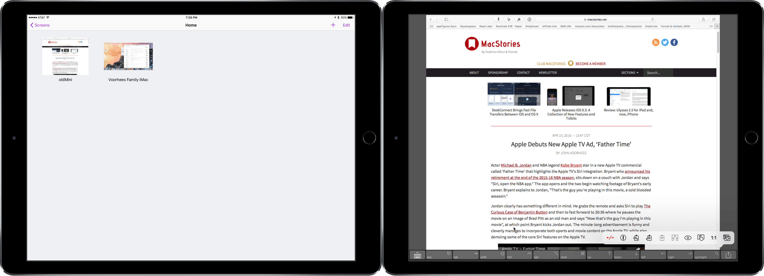 You can organize saved screens into Groups and view them in Split View on iPads that support it.