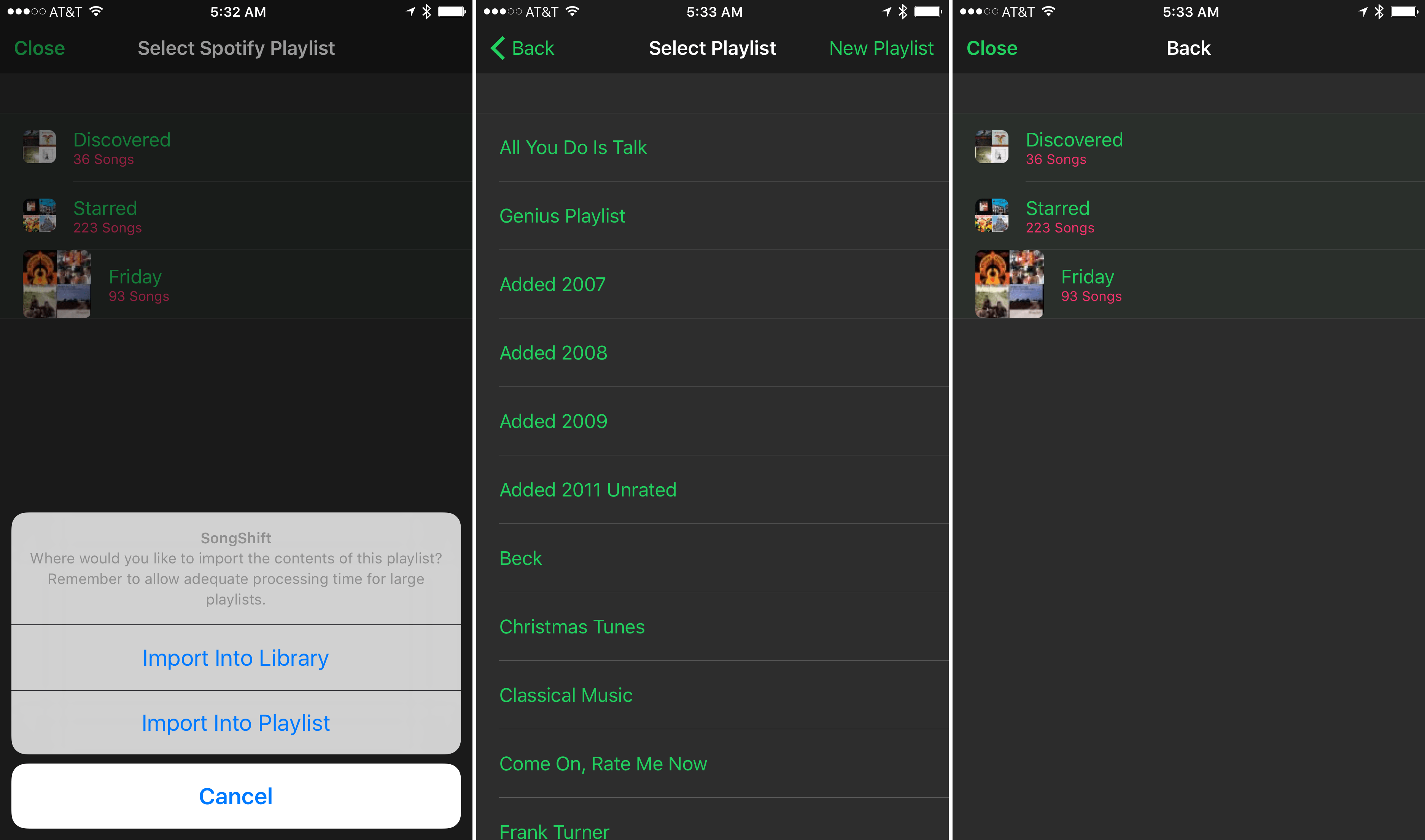 Importing songs from Spotify to Apple Music.