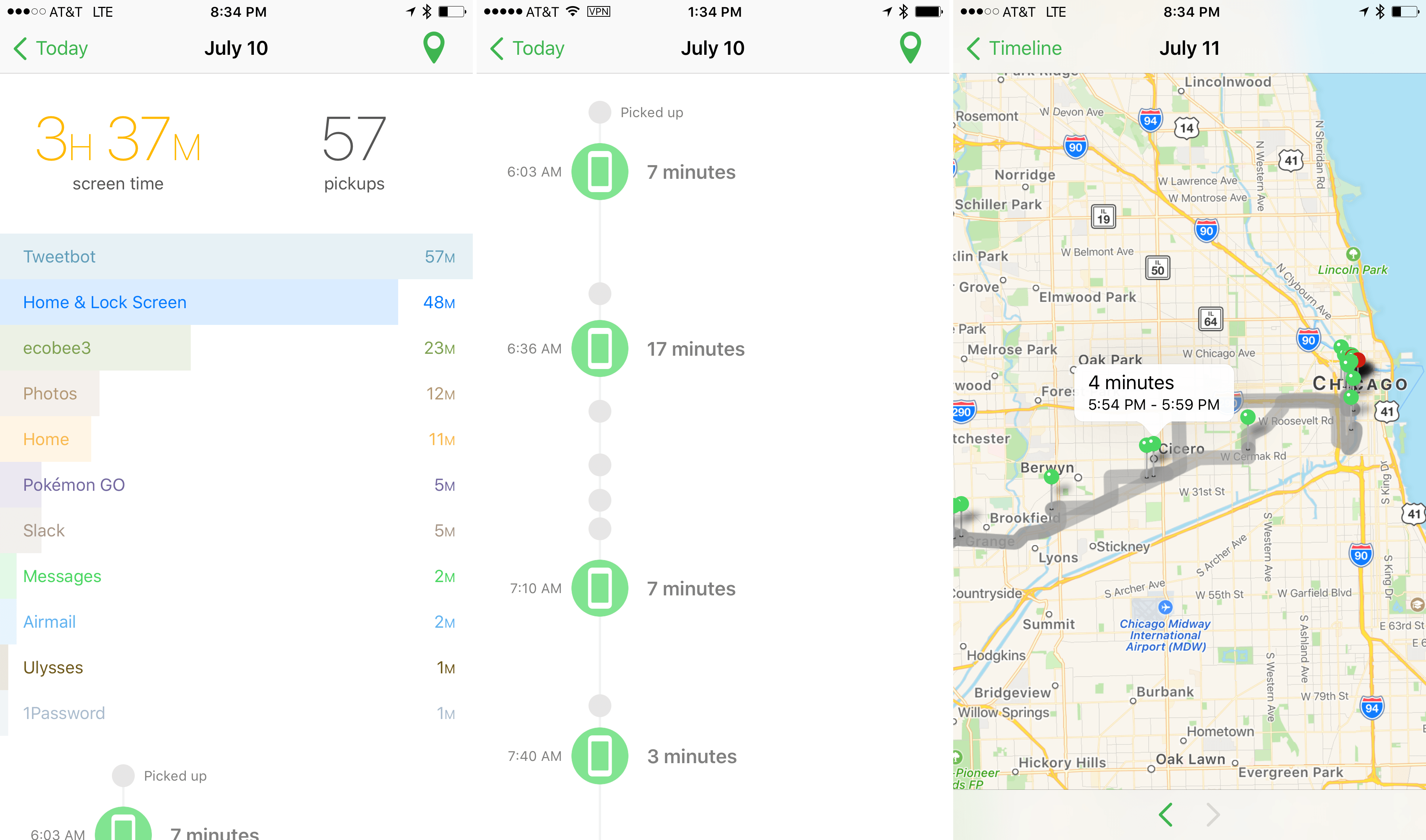 App use details, timeline, and usage map.