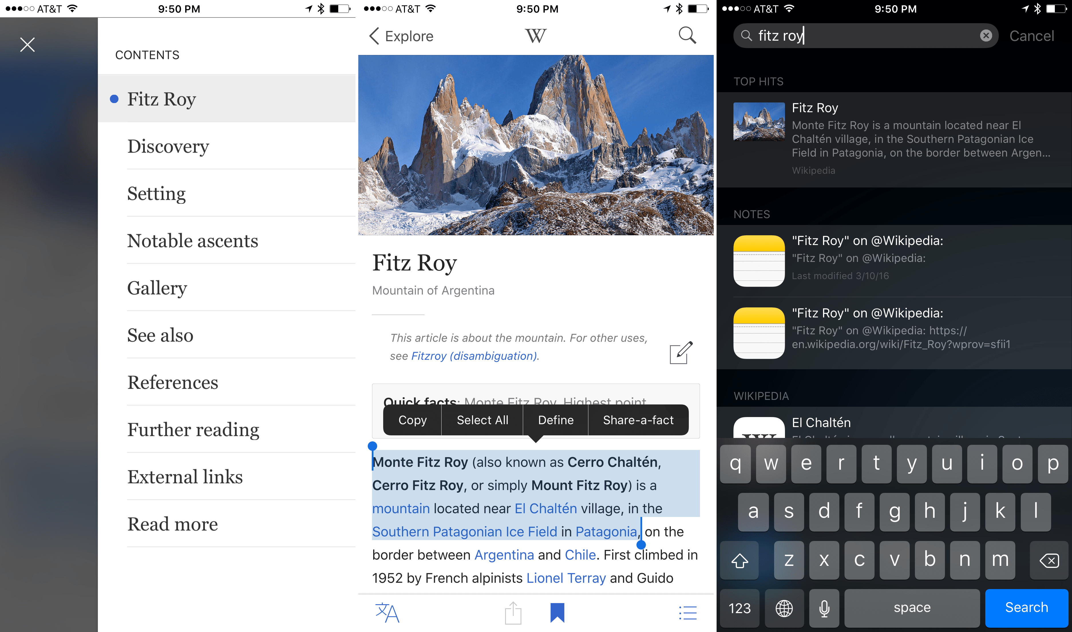 Article navigation, share-a-fact, and Spotlight search.