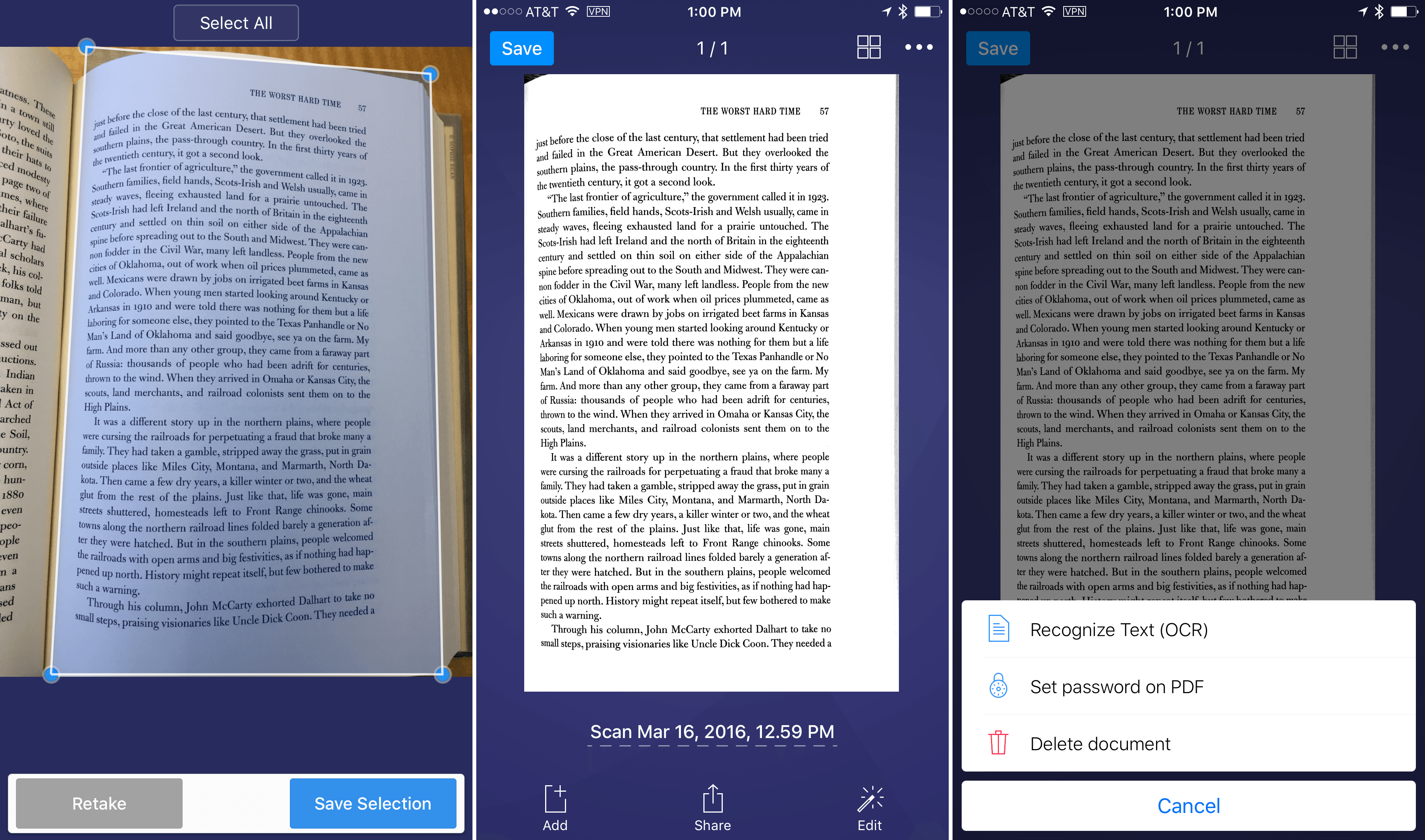 Scanner Pro 7 corrects distortion in images from things like books.