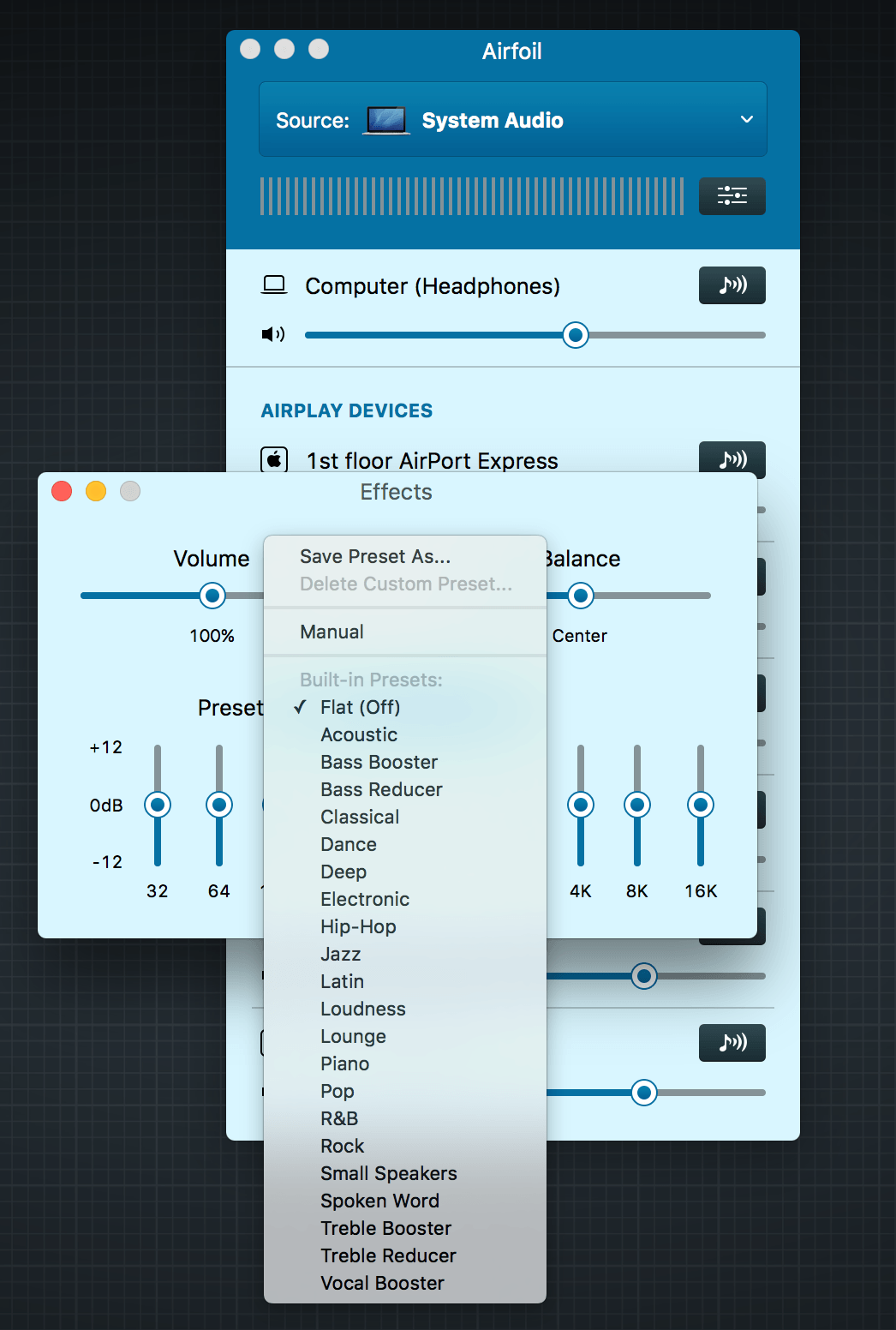 Airfoil has twenty-one equalizer presets.
