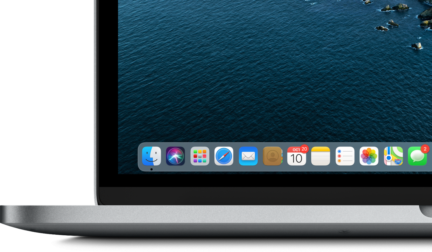 Big Sur's floating Dock and iPad-inspired app icons.