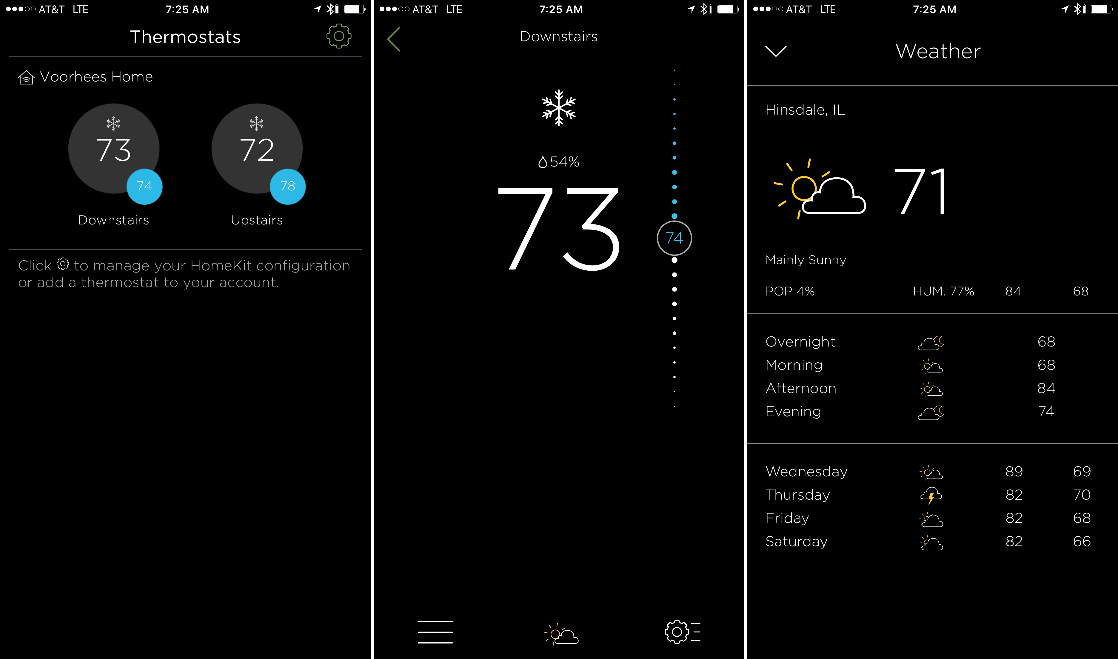 The start screen, temperature control, and weather views.