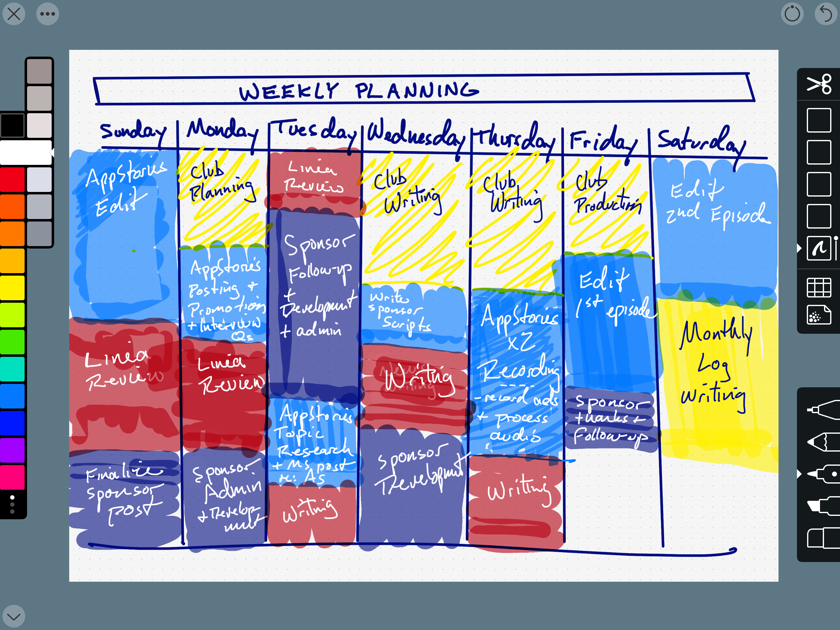 Linea Sketch is a fantastic way to plan your week.