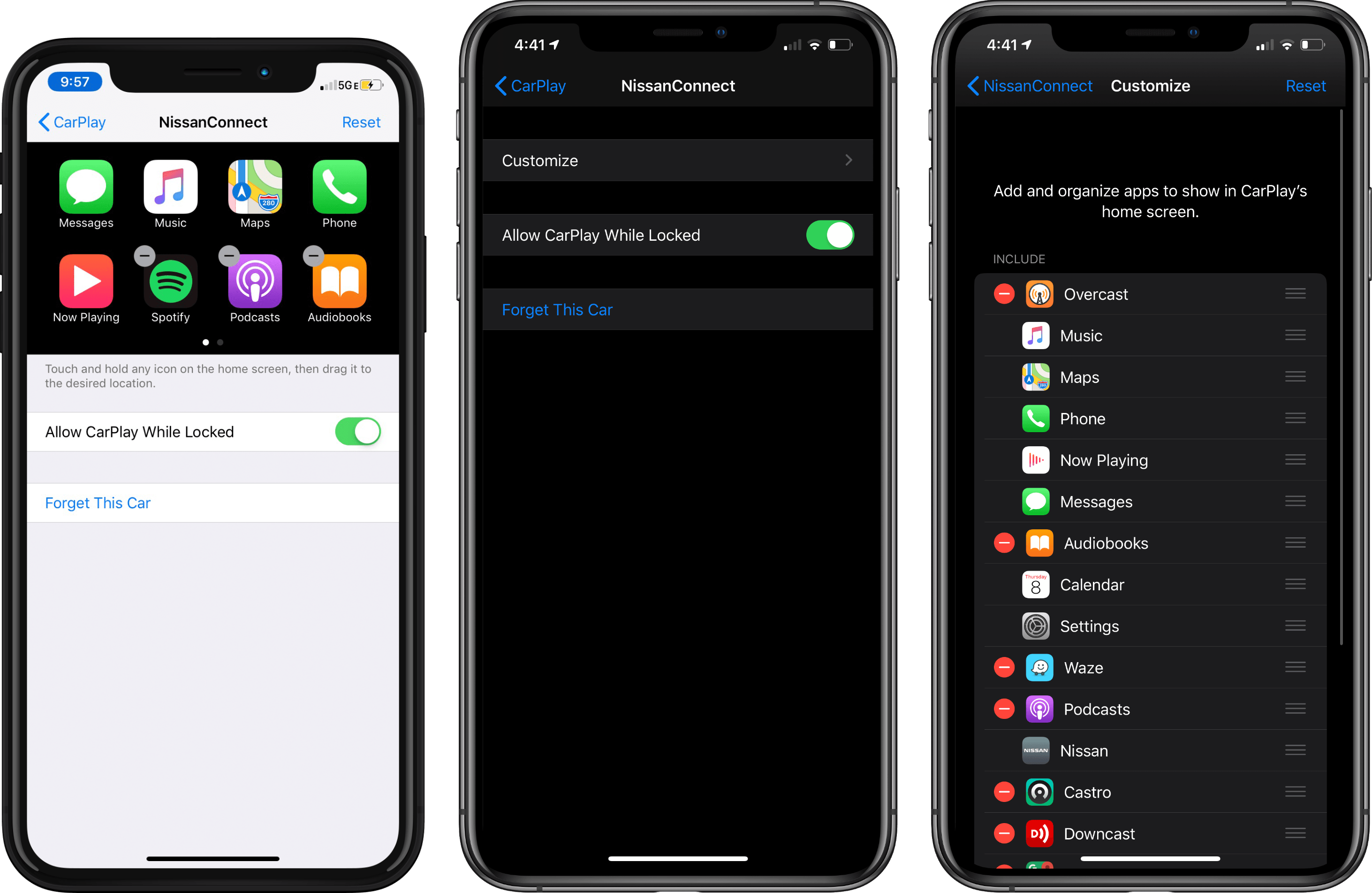 Setting up CarPlay in iOS 12 (left) and iOS 13 (middle and right).