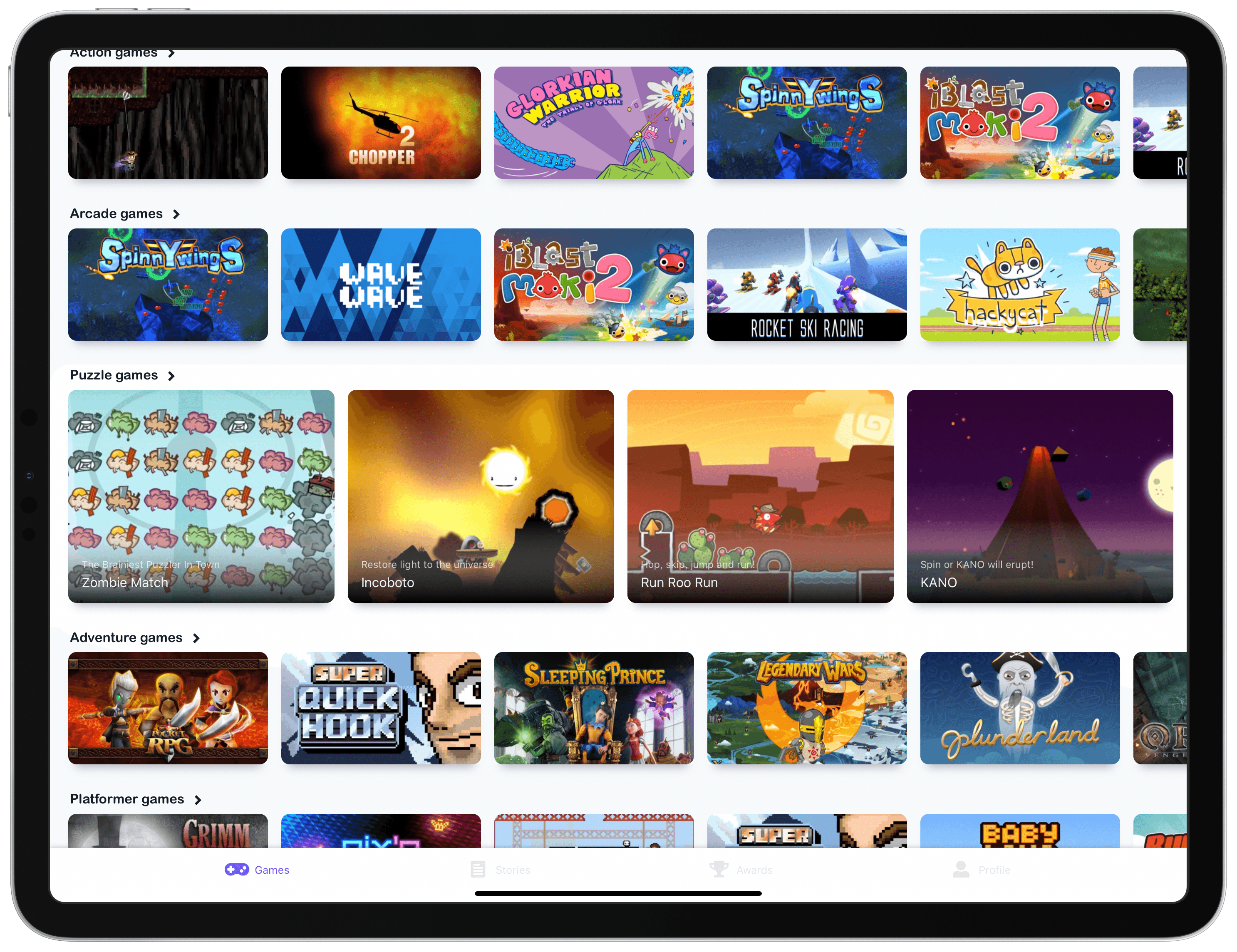 The first tab includes numerous game collections, but needs search too.