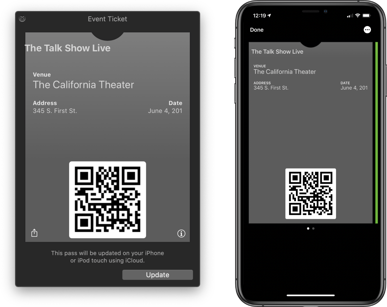 MakePass's pass preview (left) and the finished pass (right).