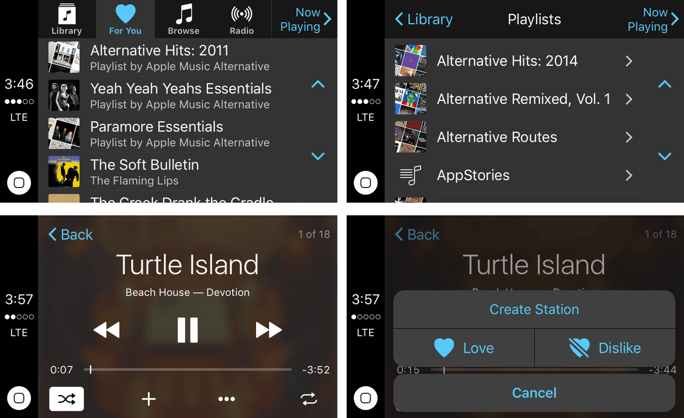 A surprising number of the features of Apple's iOS Music app are available via CarPlay.