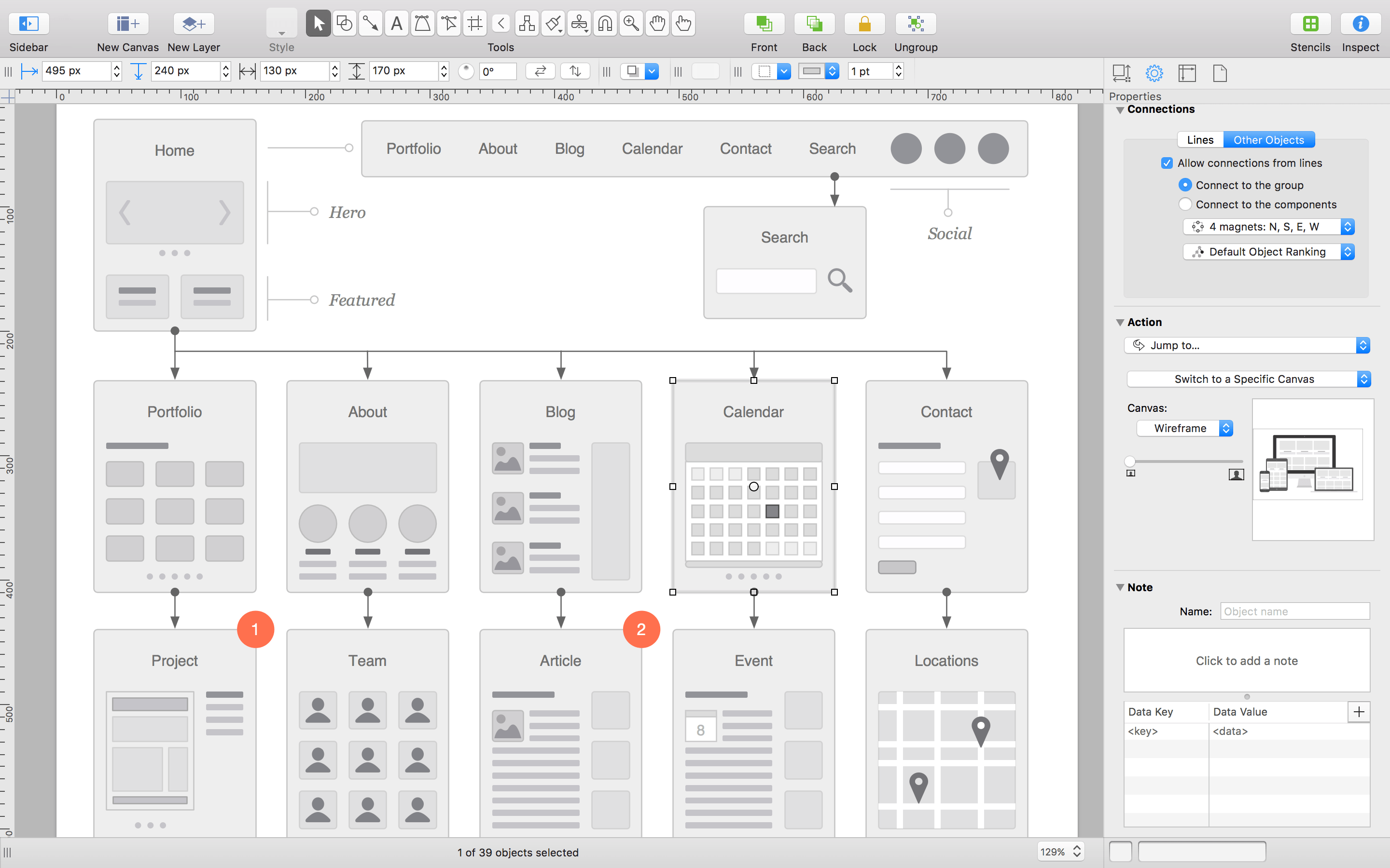 Diagramming the flow of a website with OmniGraffle.