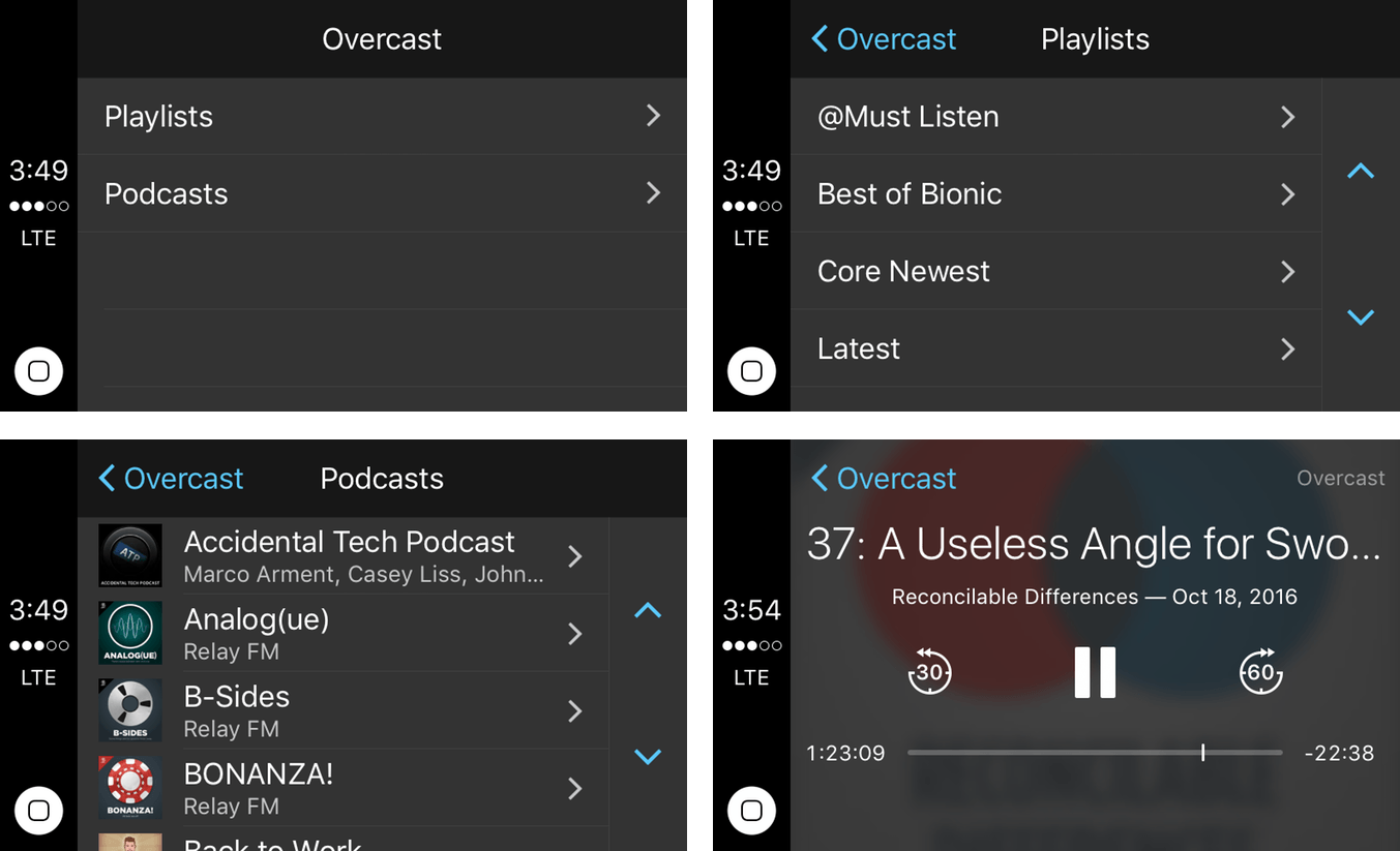 Overcast gives you access to all your playlists and podcast subscriptions.