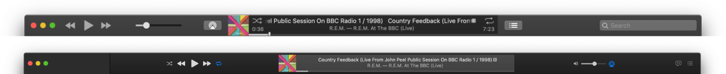 iTunes' playback controls (top) and Music's playback controls (bottom).