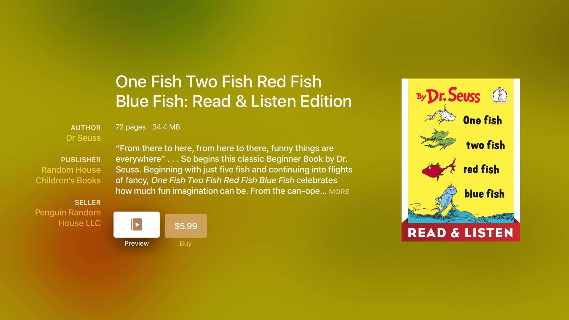 iBooks StoryTime offers several classics, including Dr. Seuss favorites.