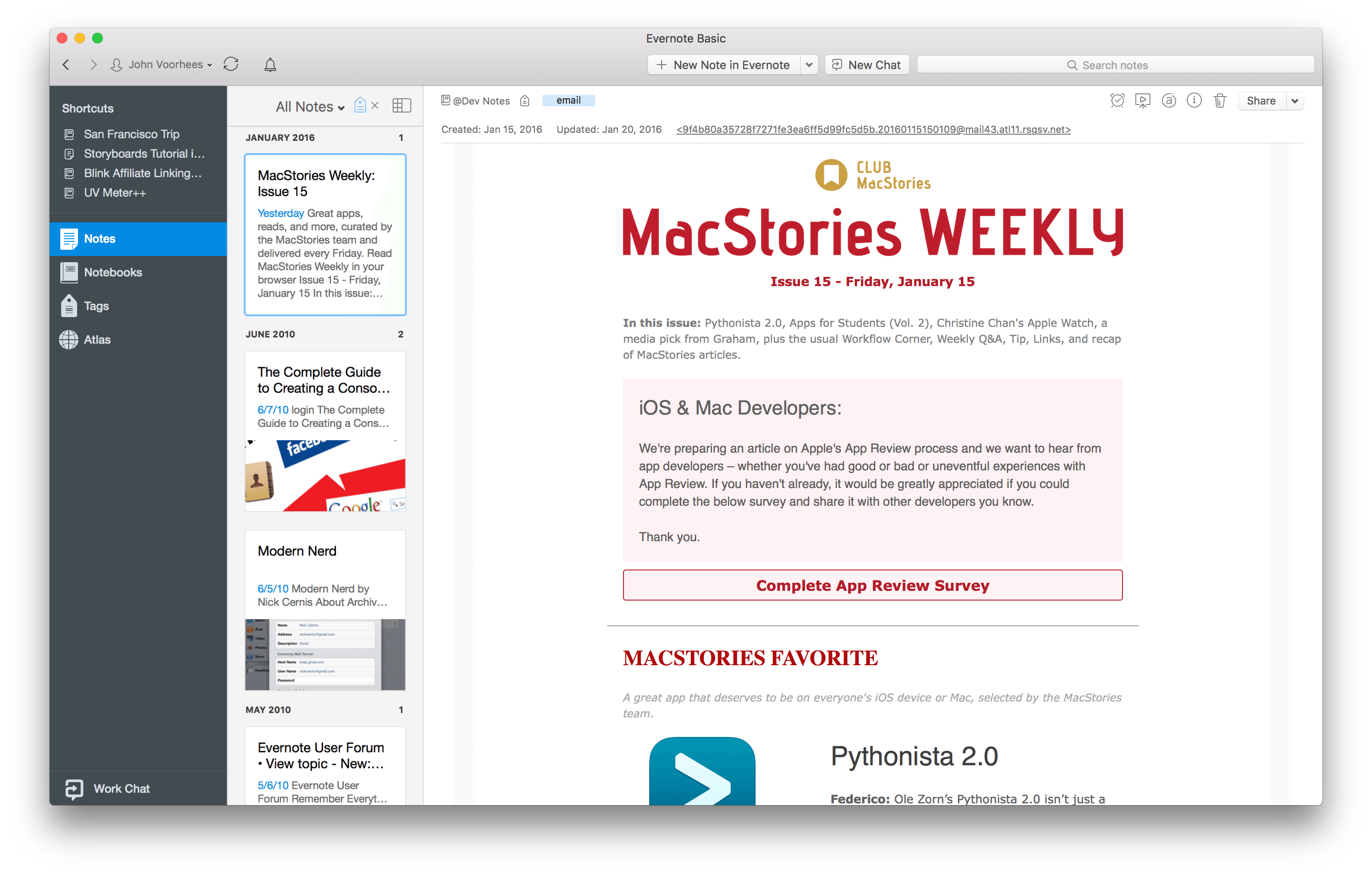 Club MacStories newsletter exported to Evernote