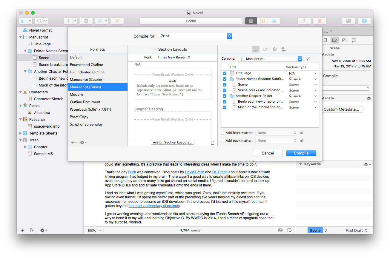 Scrivener's new compile interface.