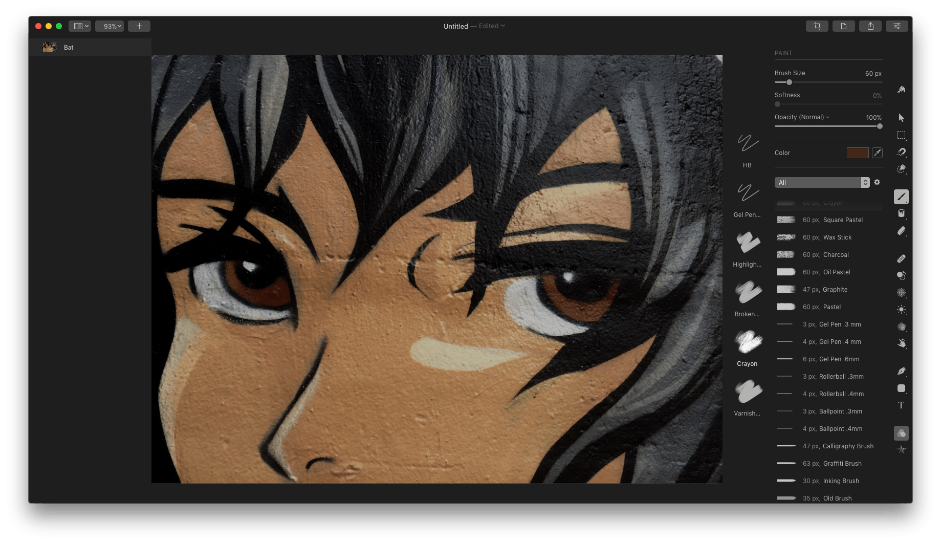 Pixelmator Pro includes a large number of customizable brushes for painting.