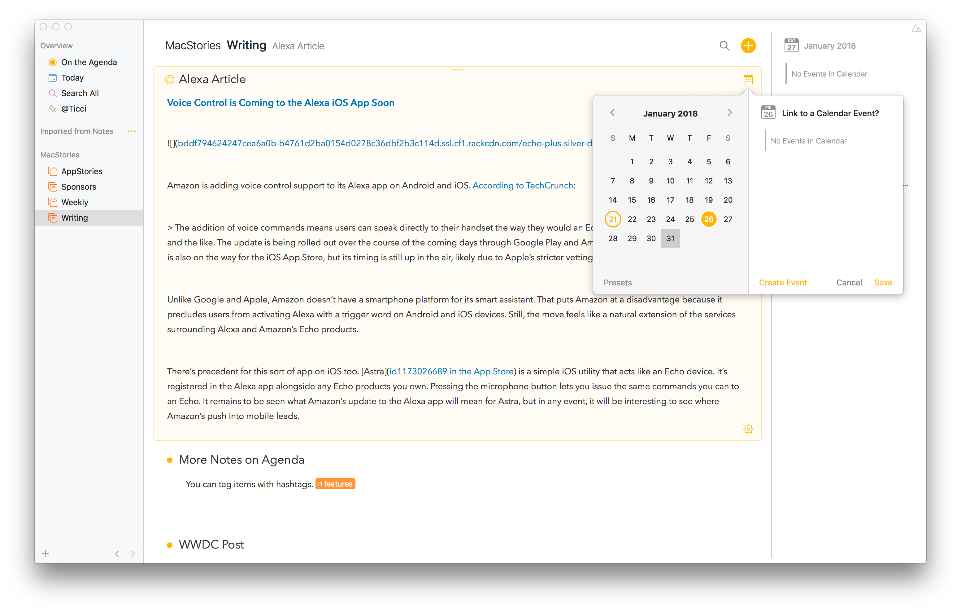 agenda review mac based note taking with a calendar focused twist