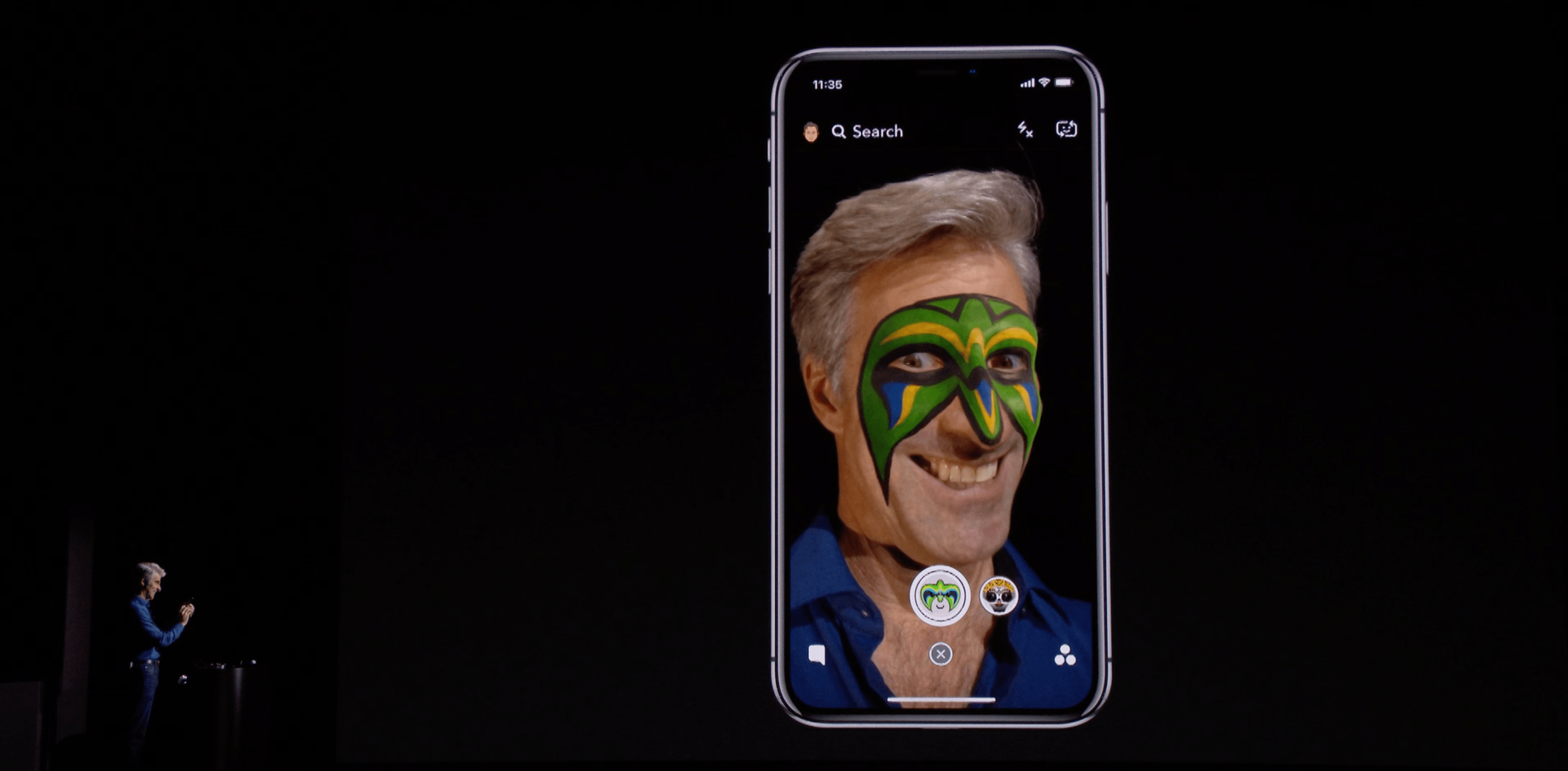 Craig Federighi demonstrating Snapchat Lens filters in September 2017