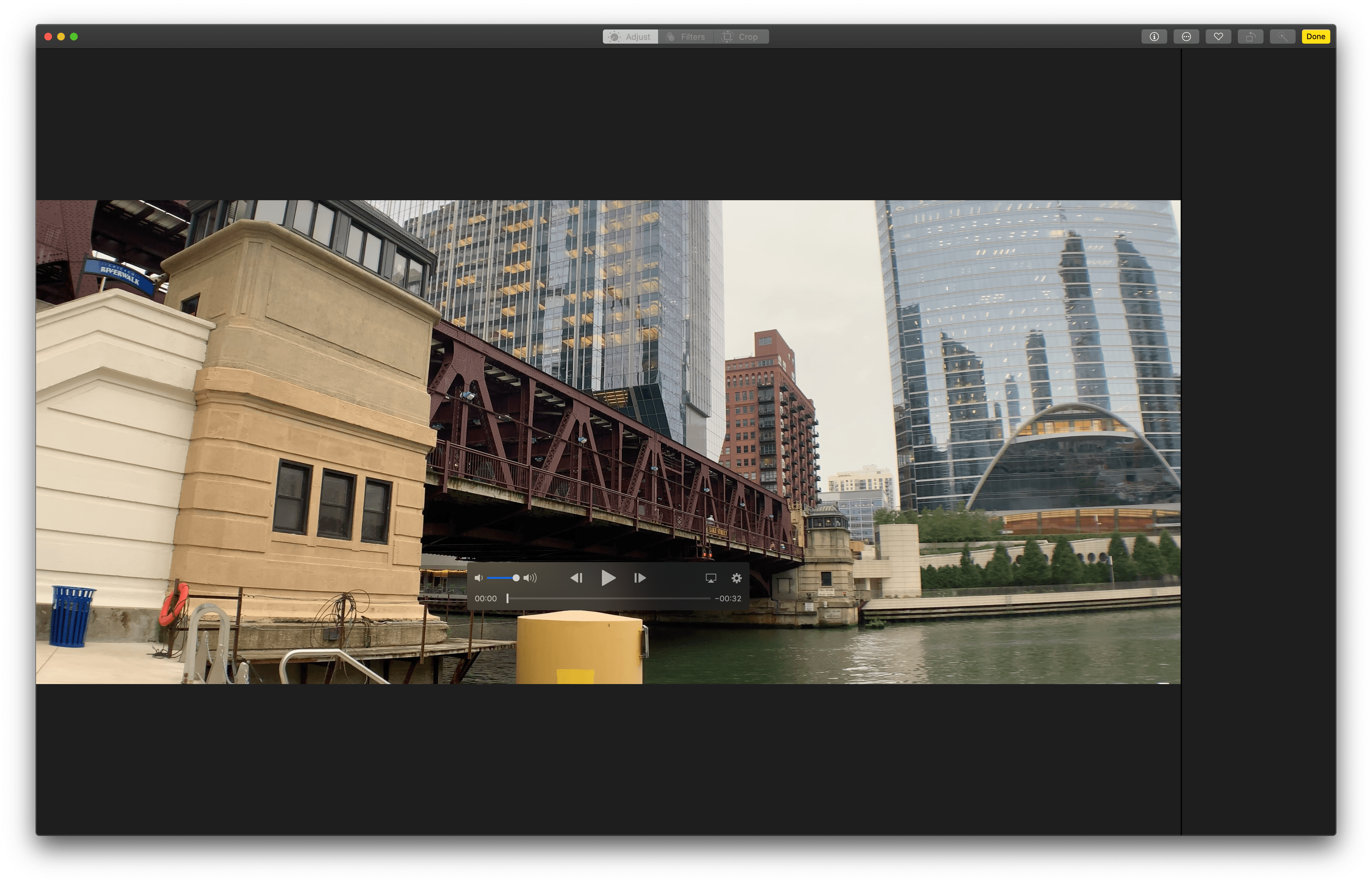 Unlike iOS, video editing on the Mac is limited to trimming in Photos.