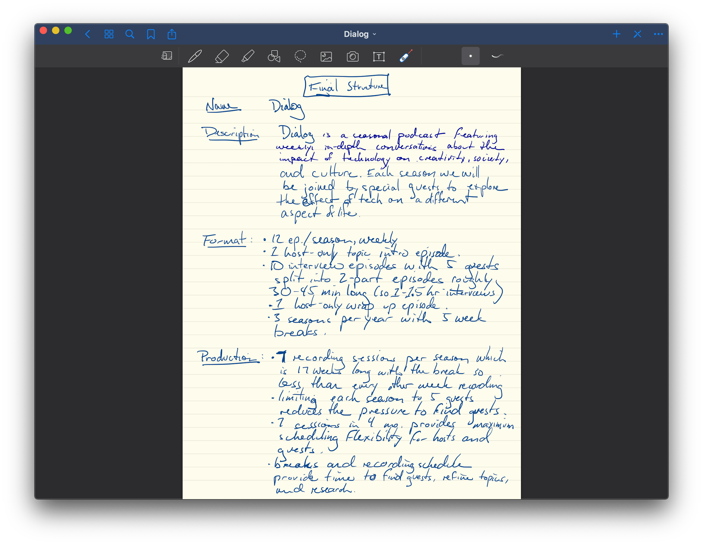 Referencing a page of notes from my Mac.