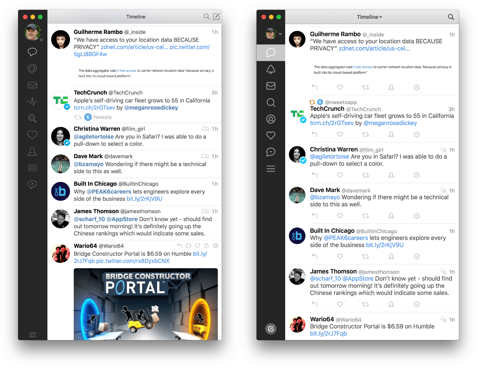 Tweetbot version 2.5 (left) and version 3.0 (right)