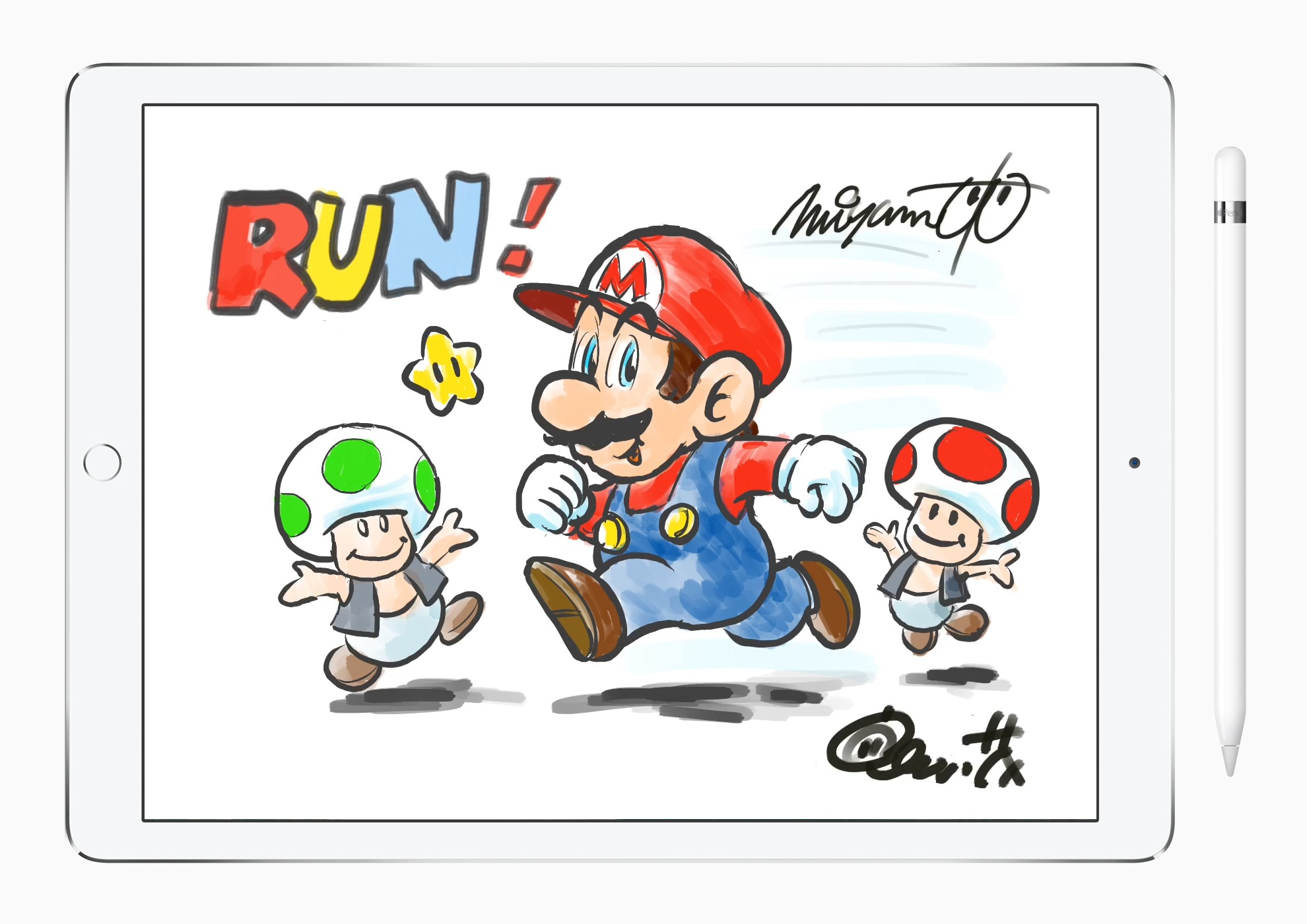 Miyamoto's completed drawing of Mario.