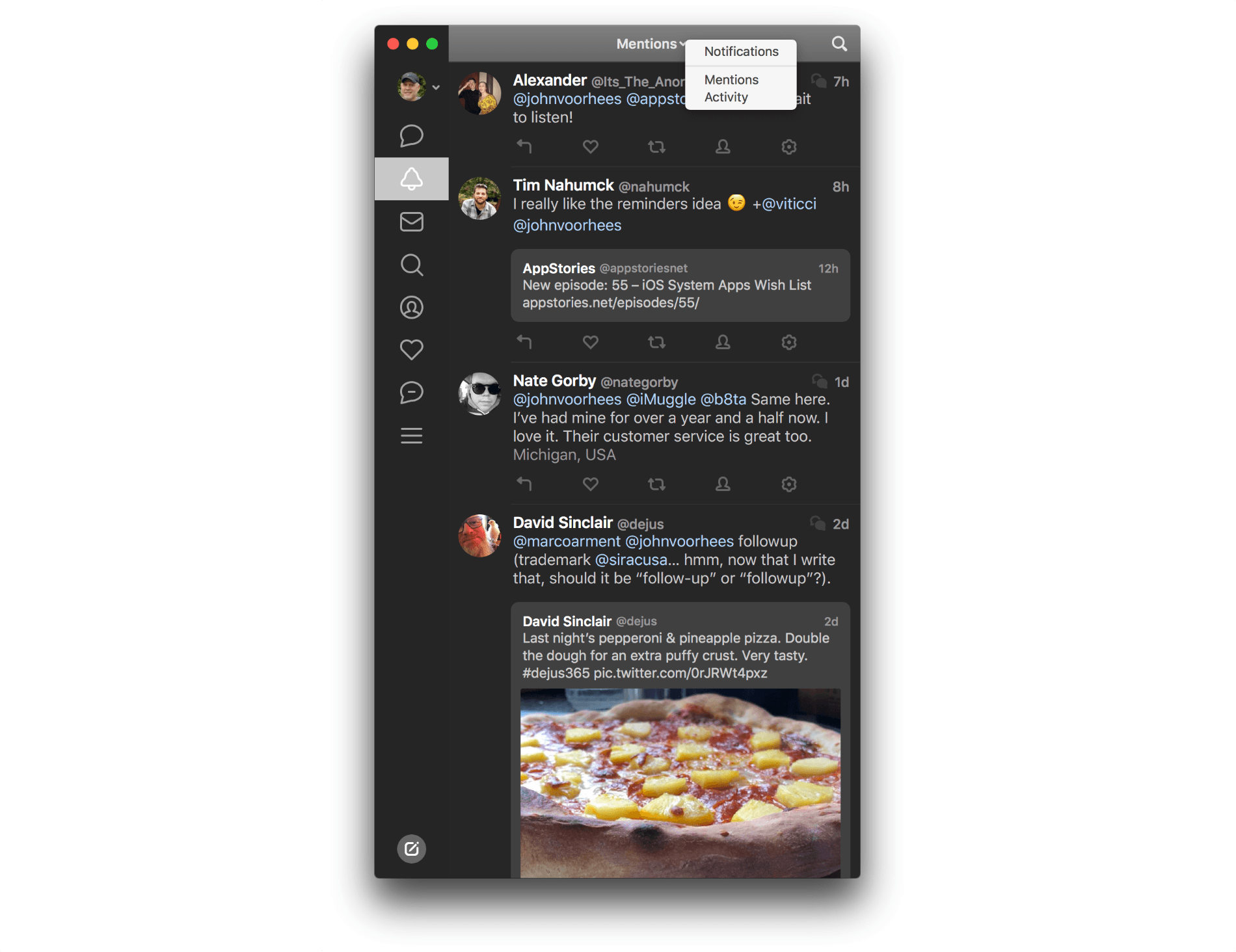 Tweetbot 3 adds title bar navigation within sidebar sections.