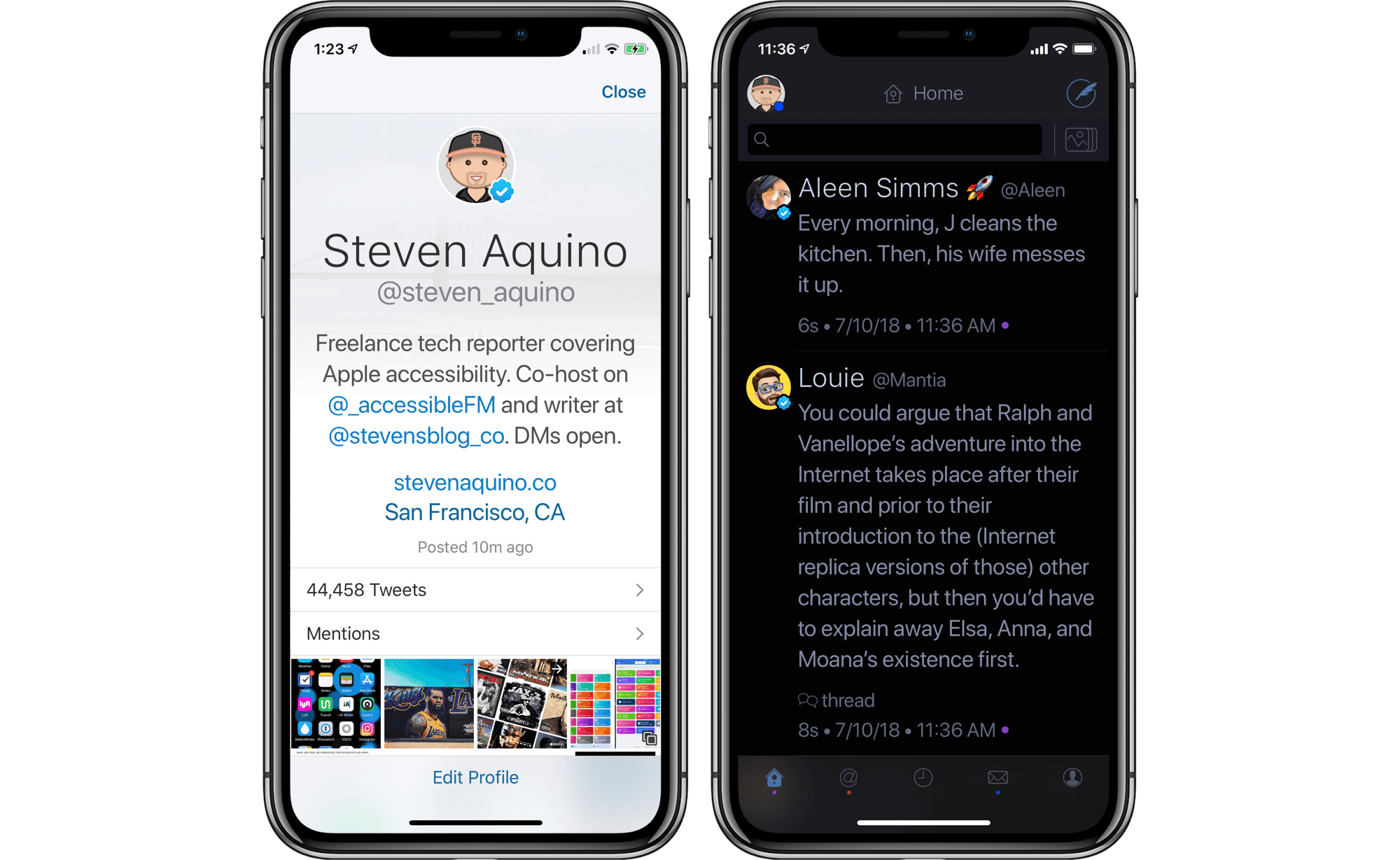A Twitterrific profile page and its dark mode.