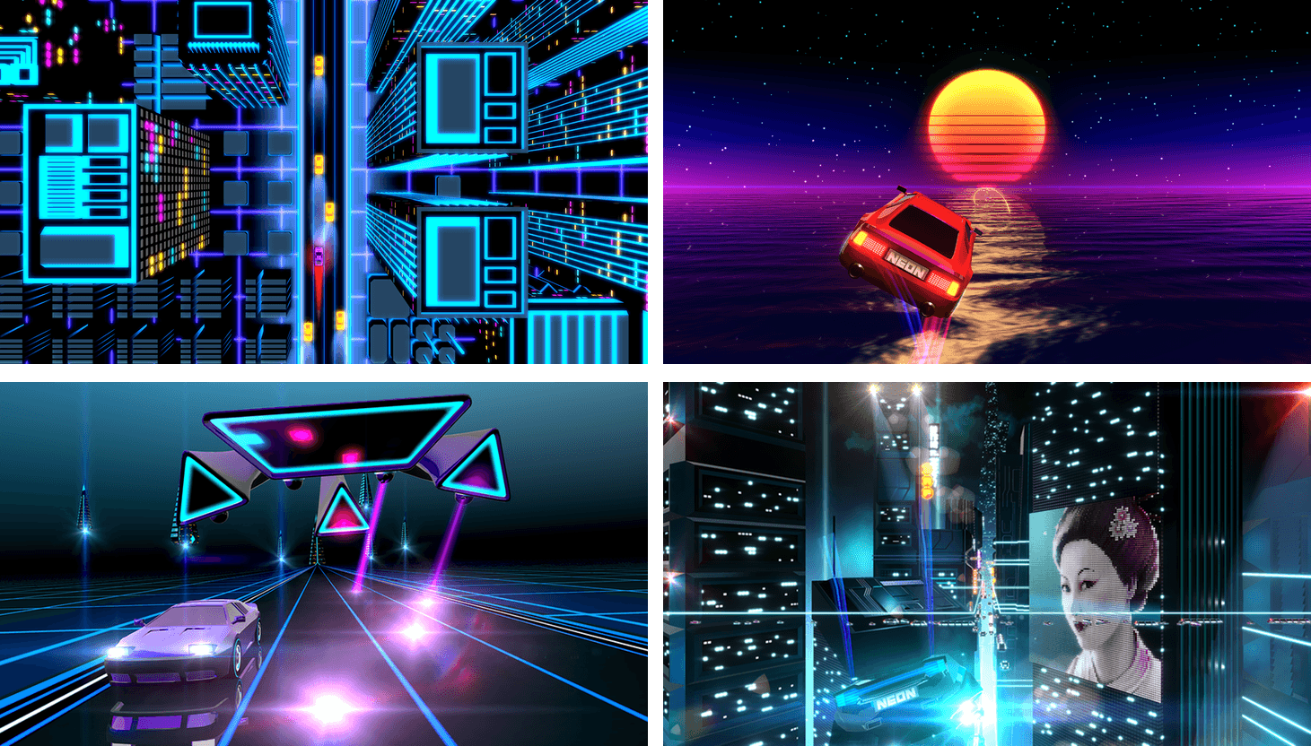 Neon Drive's look and soundtrack are a big part of its appeal.