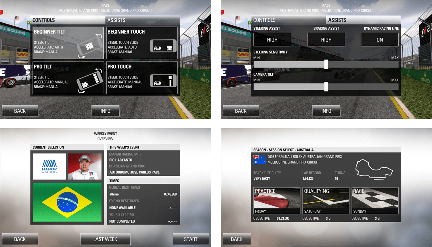 F1's controls are highly customizable and the game featues multiple modes of play.