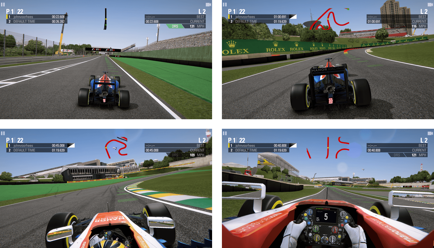 You can switch F1 between multiple points of view.