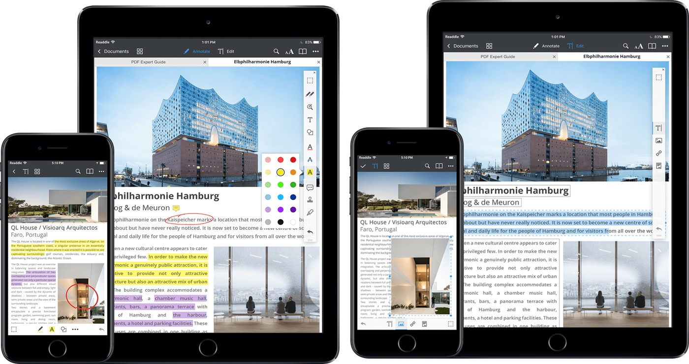 Annotate mode (left), Edit mode (right).