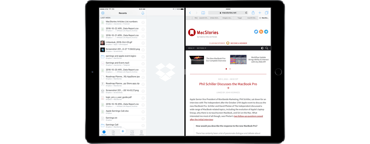 Dropbox Adds Split View Support - MacStories