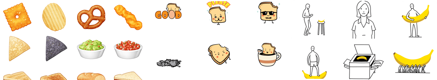 Parakeet Snacks, Happy Toast, and Banana Animated Stickers.