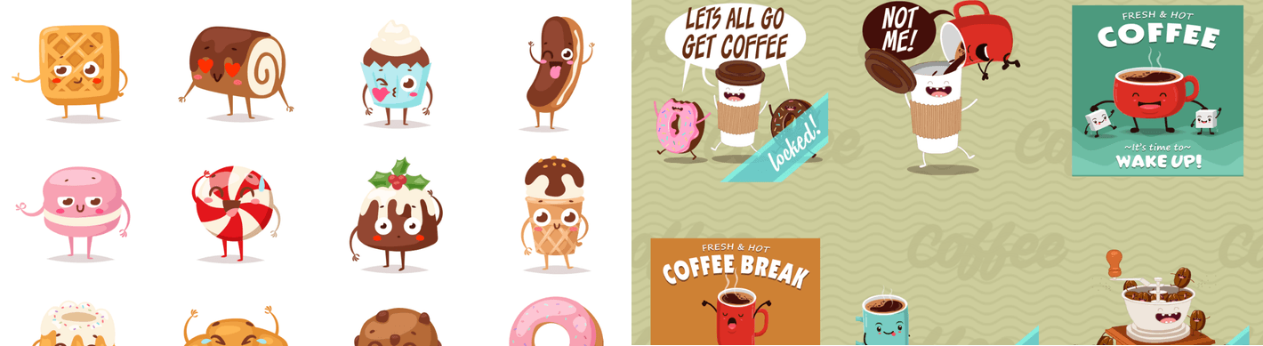 Sweets Stickers and Coffee Stickers.
