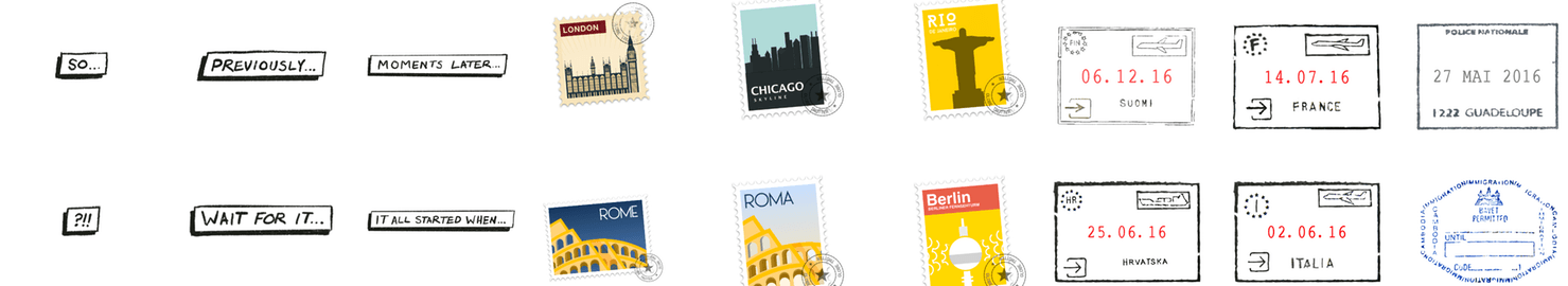 Dramatic Ellipses, Places, and Passport Stickers.