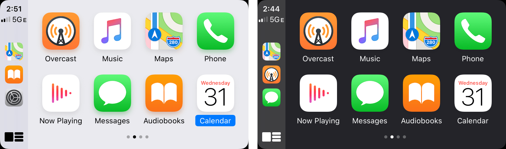 CarPlay's light and dark modes.