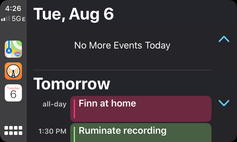 CarPlay's new Calendar app.