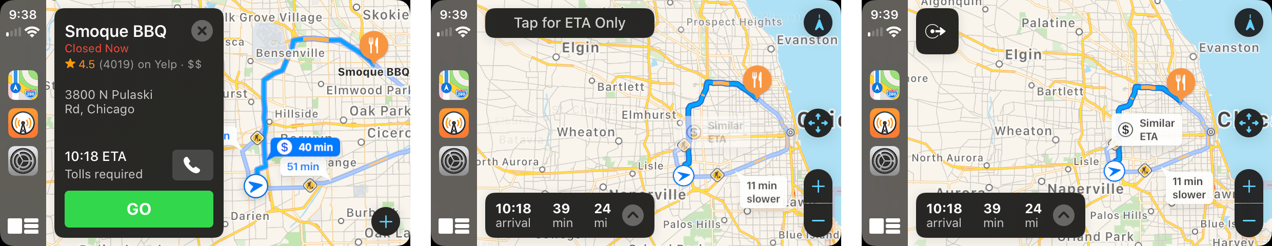 Tap 'Go' to start navigating and switch to ETA only mode by tapping the button that appears when you hit Go or tapping the turn-by-turn directions.