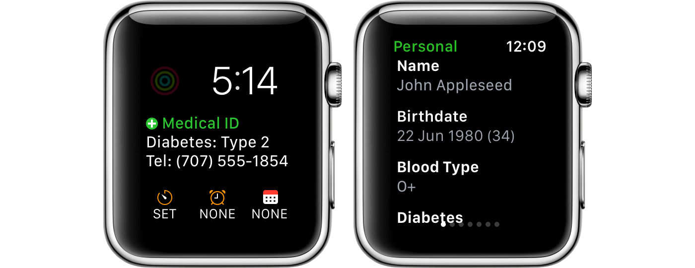 The Medical ID Record Watch app.
